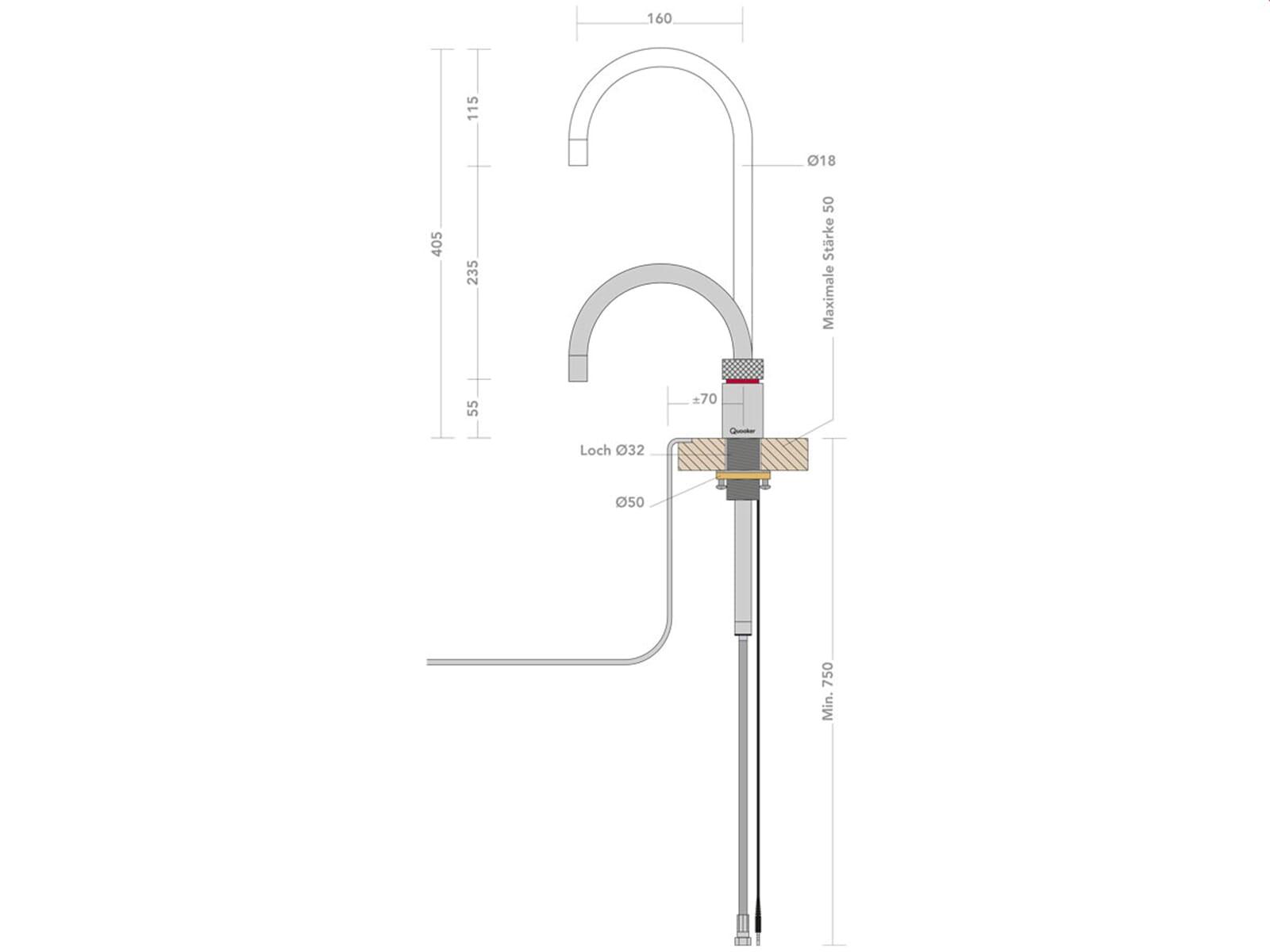 Quooker COMBI+ 2.2 E Nordic Round CHR (verchromt glänzend)