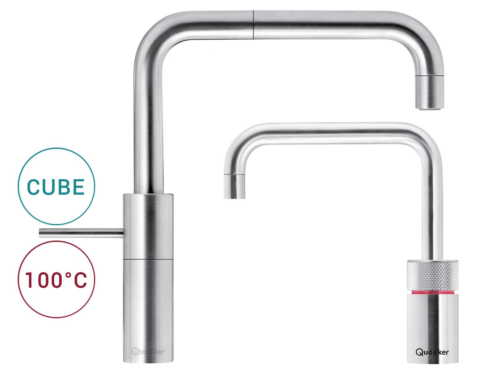 Quooker COMBI+ 2.2 E & CUBE | Nordic Square TwinTaps RVS (Voll-Edelstahl)