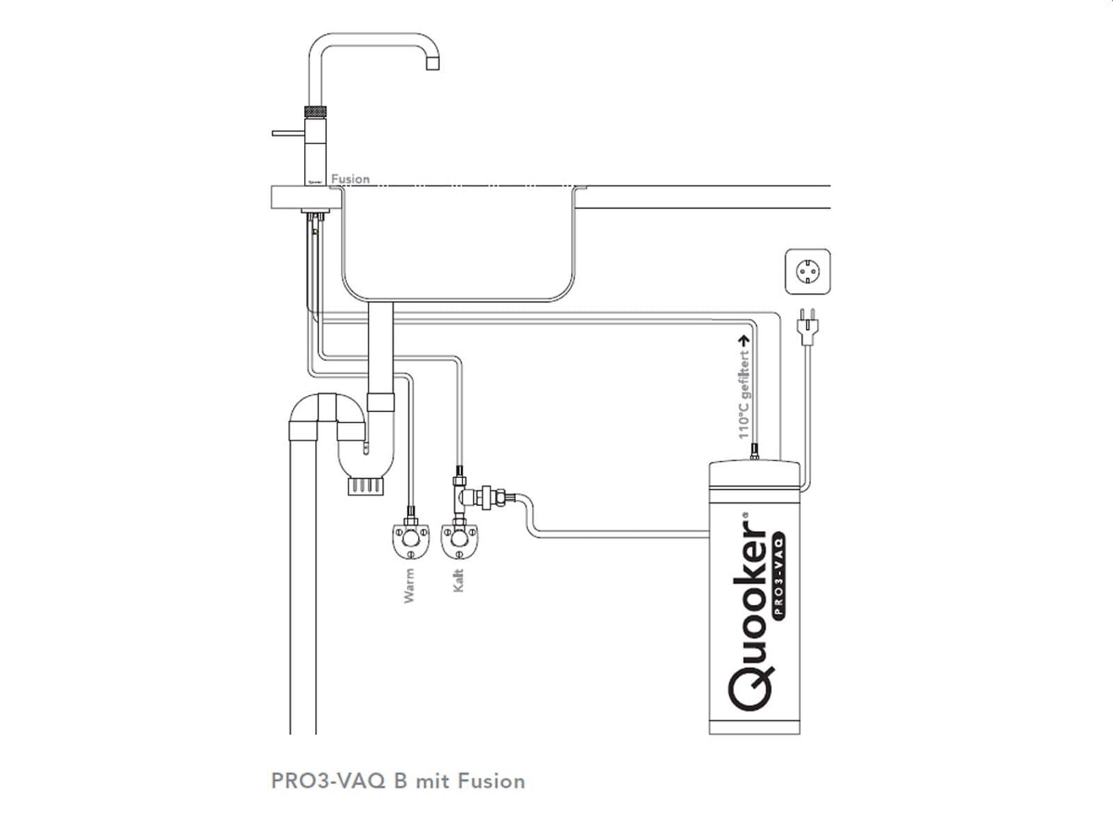 Quooker PRO3-VAQ B Fusion Square STL (verchromt gebürstet)