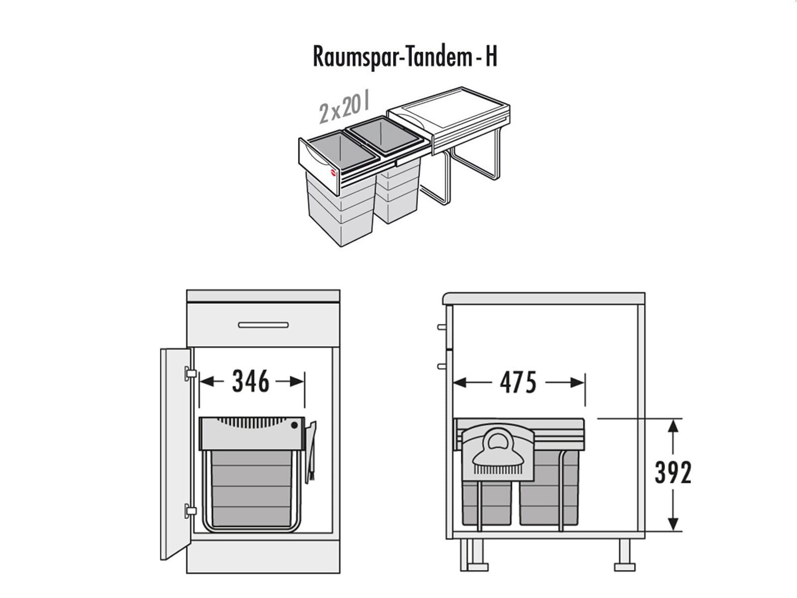 hailo raumspar tandem comfort 3641 221 einbau abfallsammler. Black Bedroom Furniture Sets. Home Design Ideas