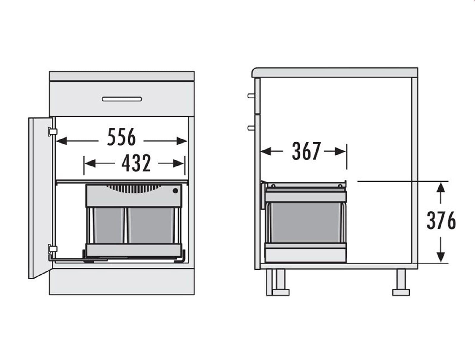 hailo automatic raumspar tandem 3644801 einbau abfallsammler. Black Bedroom Furniture Sets. Home Design Ideas