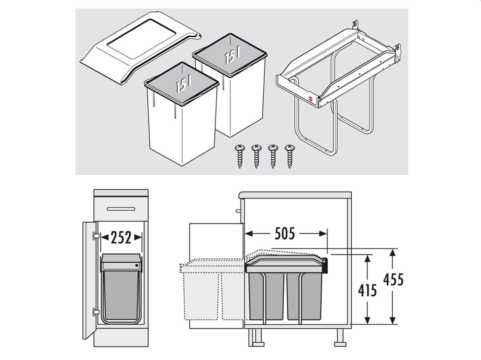 hailo tandem 3650 10 einbau abfallsammler. Black Bedroom Furniture Sets. Home Design Ideas