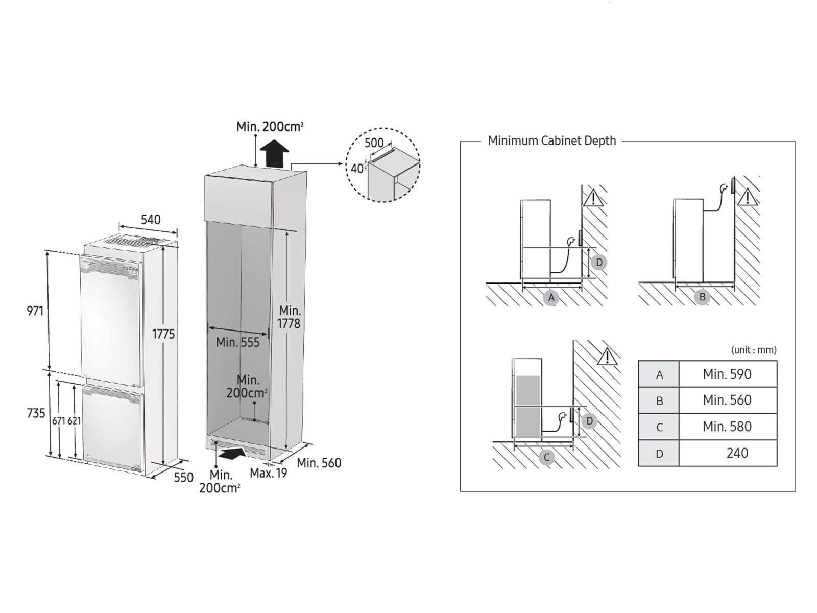 Samsung BRB260130WW/EF Einbau-Kühl-Gefrierkombination