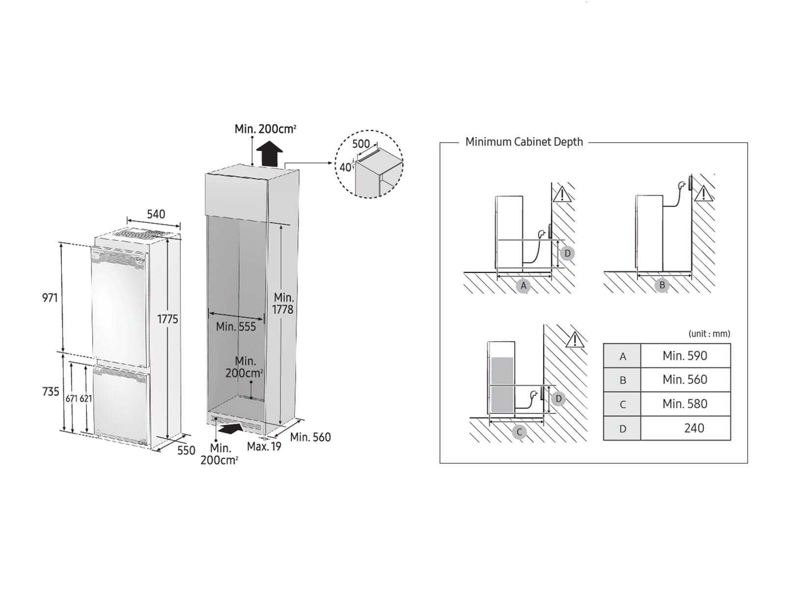 Samsung BRB260189WW/EF Einbau-Kühl-Gefrierkombination