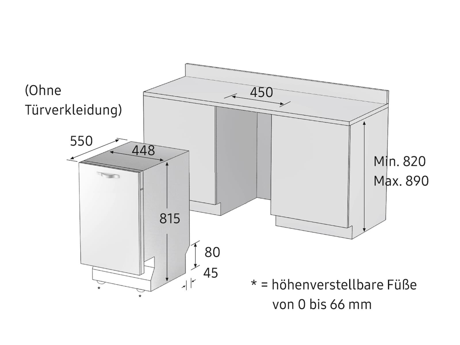Samsung DW50R4070BB/EO Vollintegrierbarer Einbaugeschirrspüler