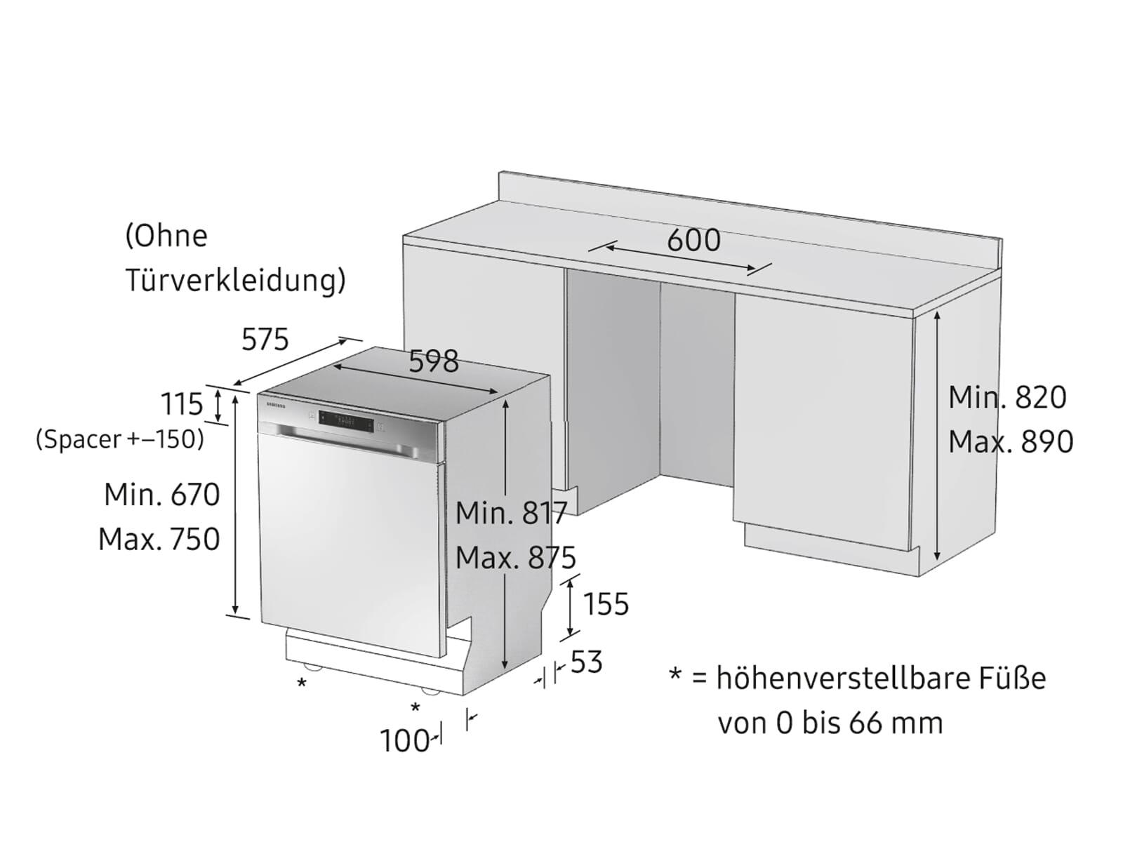 Samsung DW60M6031BB/EG Vollintegrierbarer Einbaugeschirrspüler