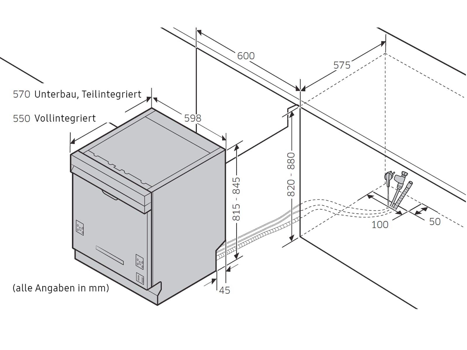 Samsung DW60R7050SG/EG Teilintegrierbarer Einbaugeschirrspüler