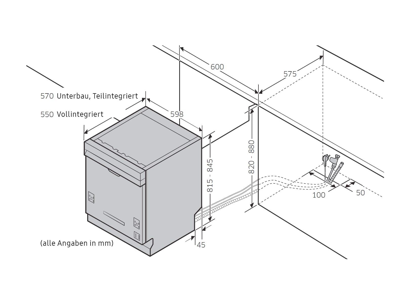Samsung DW6KR7051BB/EG Vollintegrierbarer Einbaugeschirrspüler
