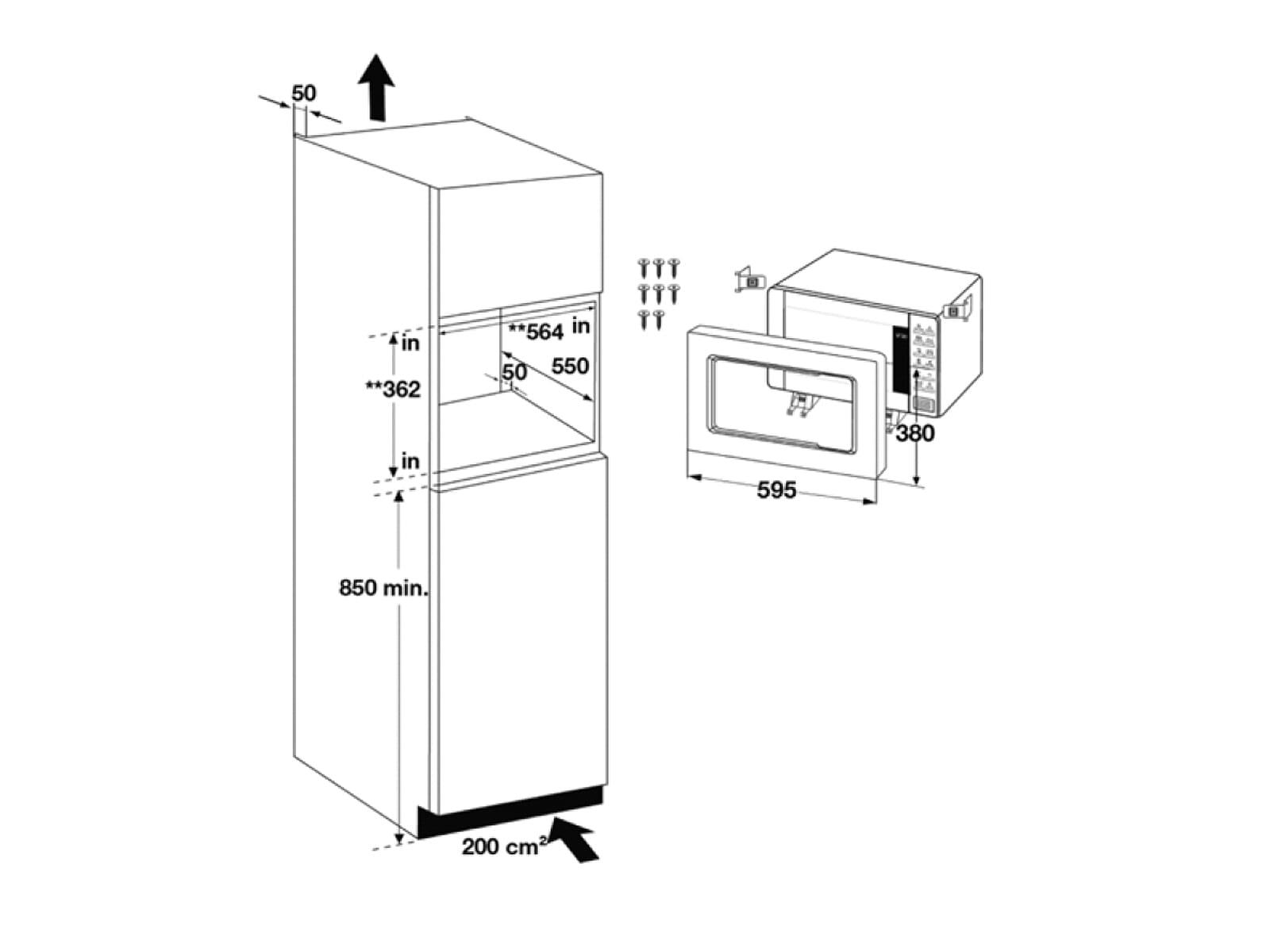 Samsung FG87SUB/EG Einbau-Mikrowelle mit Grill Schwarz