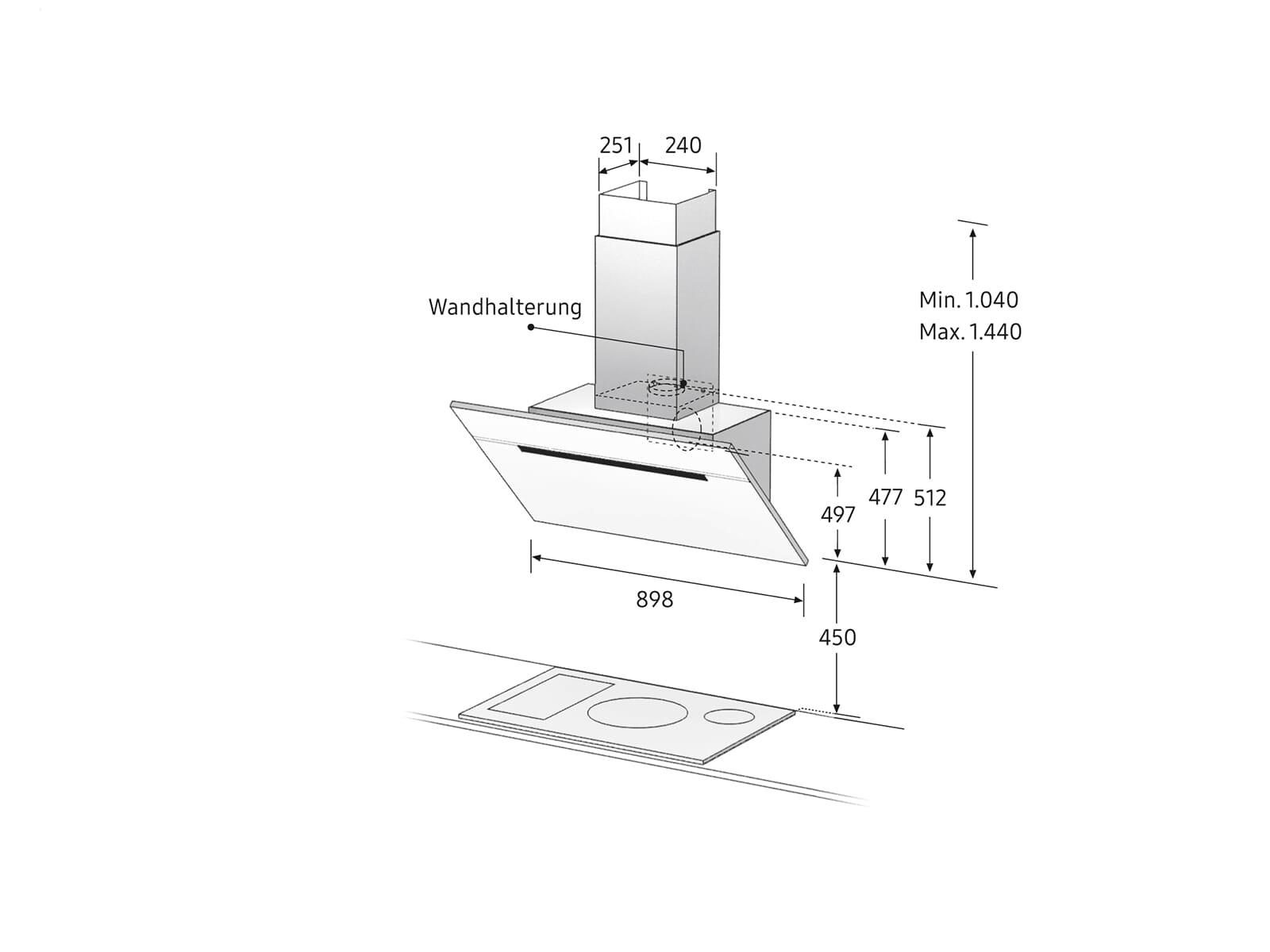 Samsung NK36M7070VB/UR Kopffreihaube 90 cm Glas-Schwarz