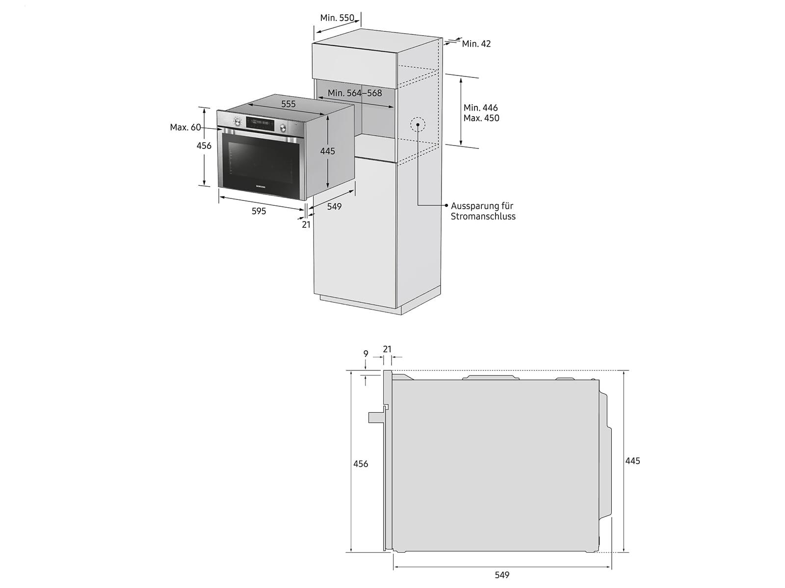 Samsung NQ50J9530BS/EG Kompaktbackofen mit Mikrowelle Edelstahl