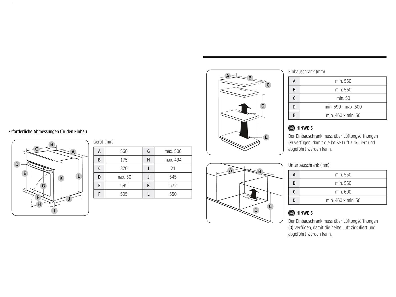 Samsung NV70K3370BS/EG Pyrolyse Backofen Edelstahl
