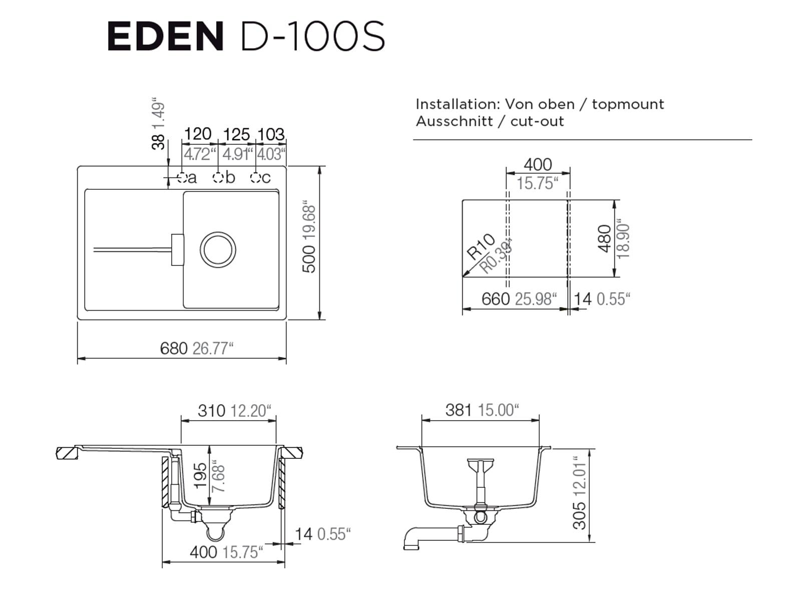 Schock Eden D-100 S A - EDED100SAGMS Moonstone Granit-Spüle
