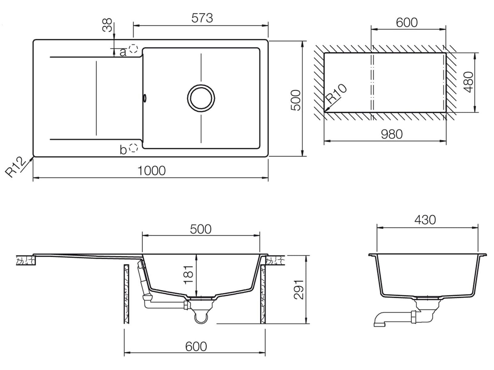 Schock Epure D-100 L A Nero - EPUD100LAGNE Granitspüle