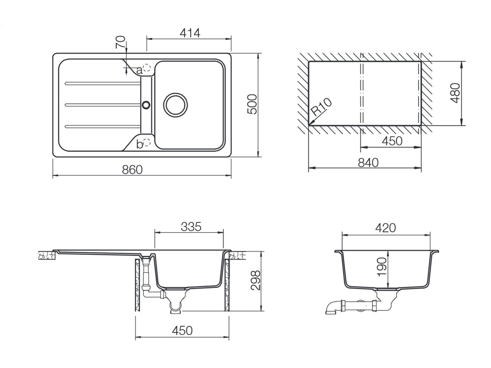 Schock Formhaus D-100 Asphalt - FOMD100AGAS Granitspüle