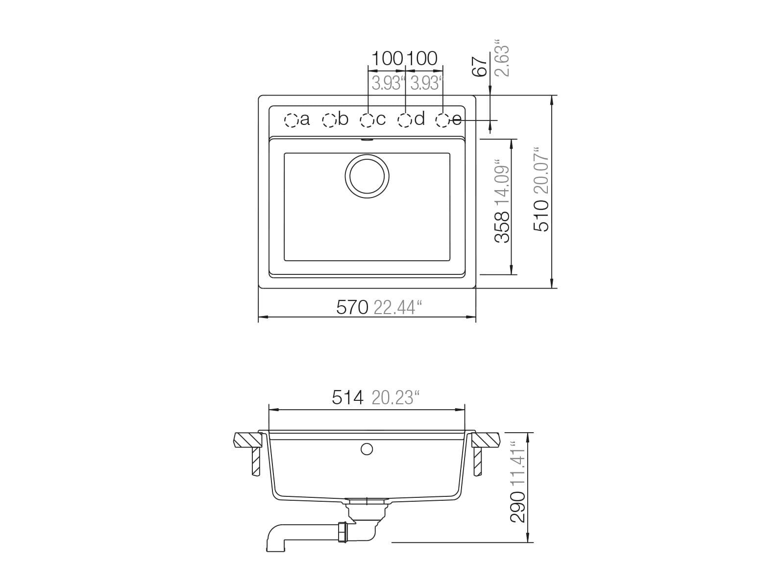 Schock Mono N-100 A Silverstone - MONN100ASIL Granitspüle