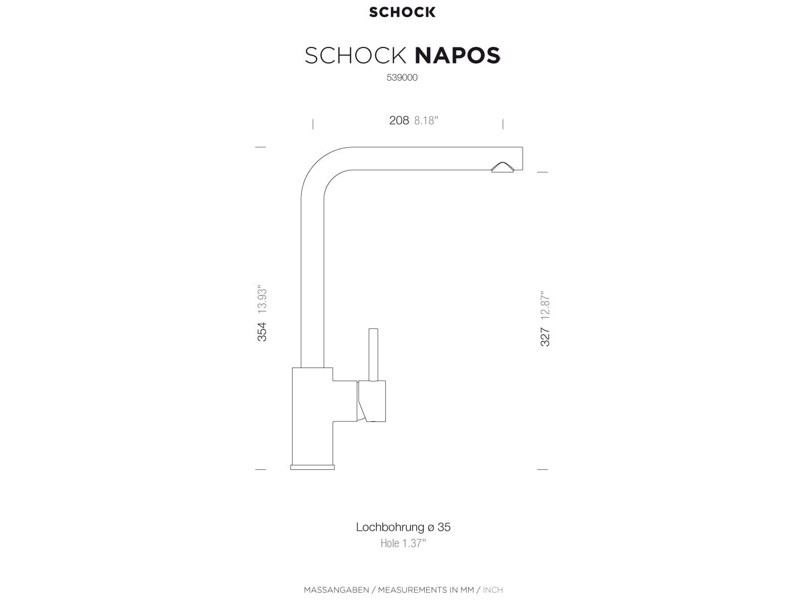 Schock Napos Chrom 539000CHR Hochdruckarmatur