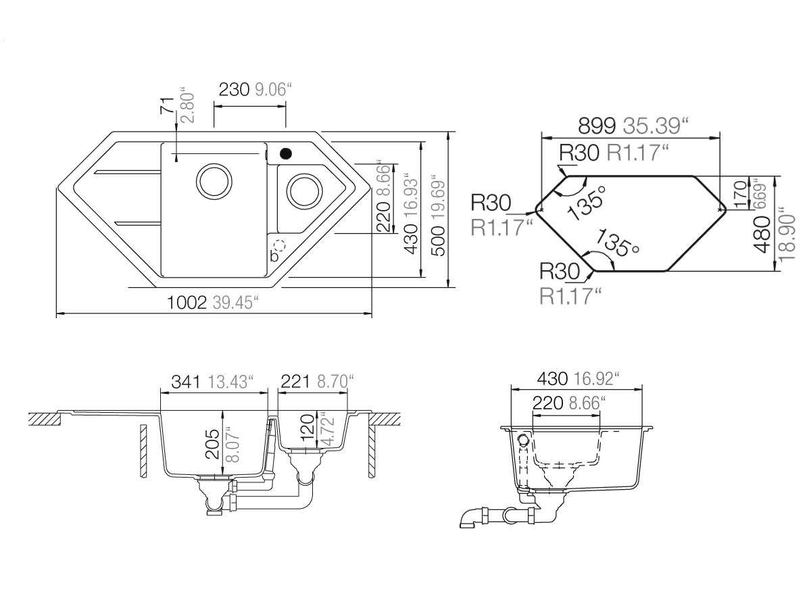schock primus c 150 a croma granitsp le ebay. Black Bedroom Furniture Sets. Home Design Ideas