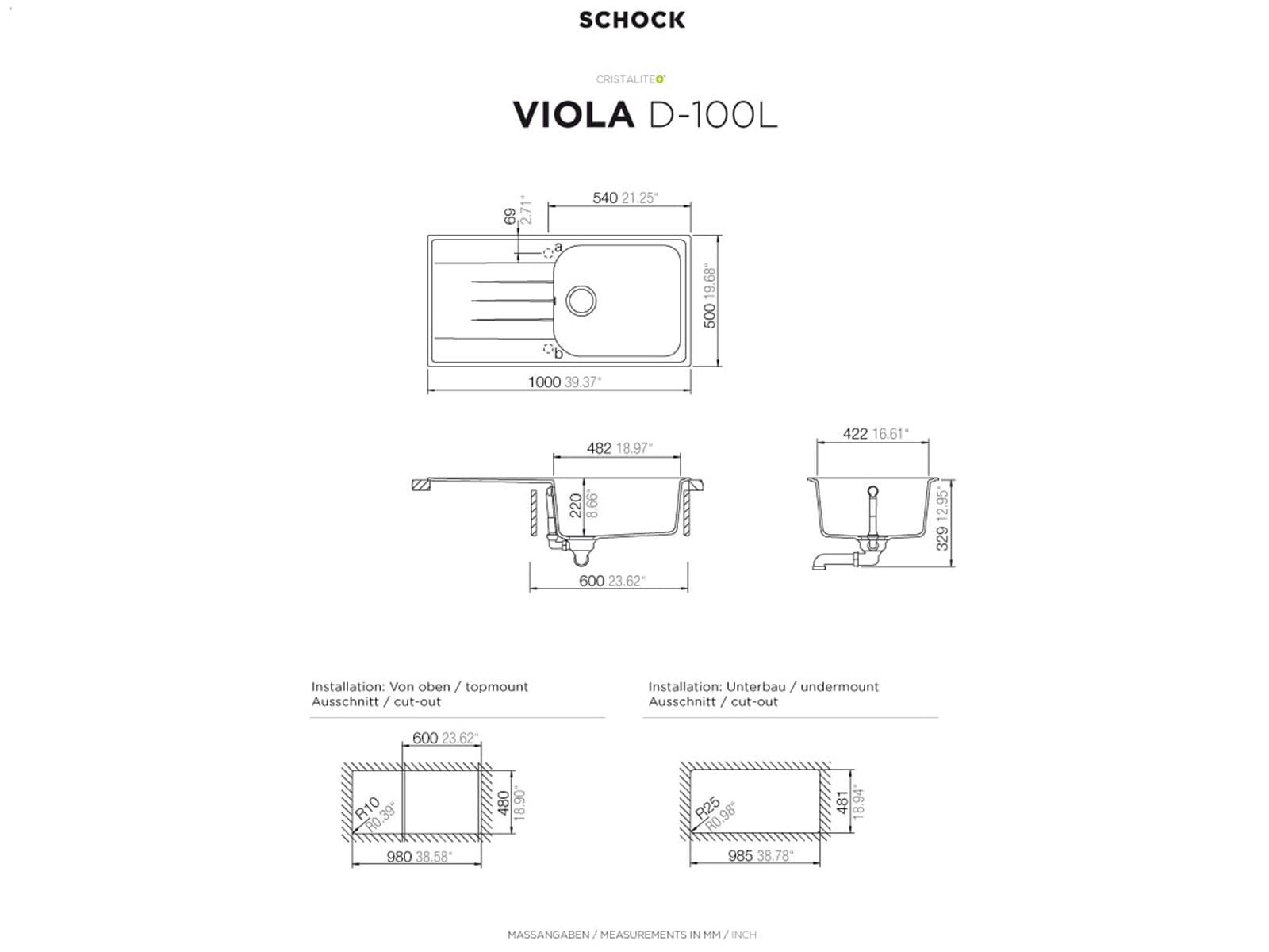 Schock Viola D-100 L A Onyx Granitspüle