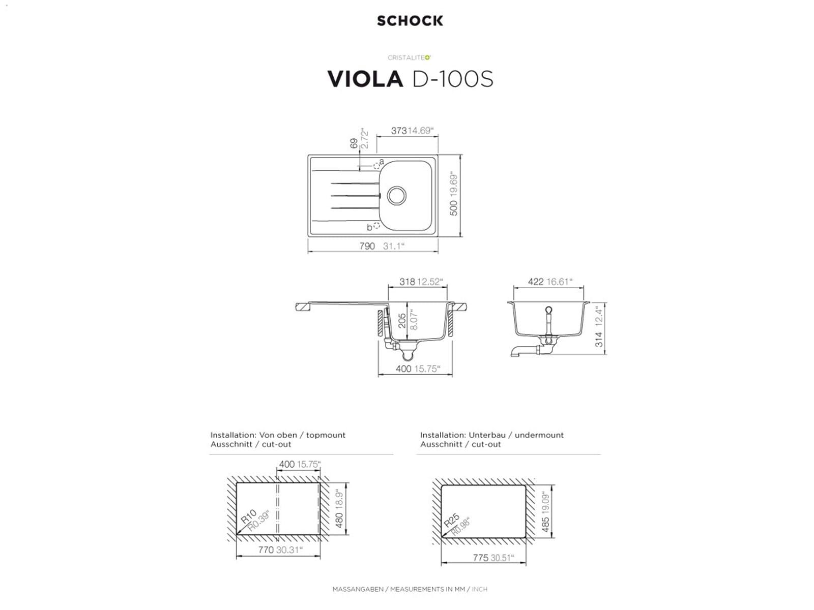 Schock Viola D-100 S A Mocha Granitspüle