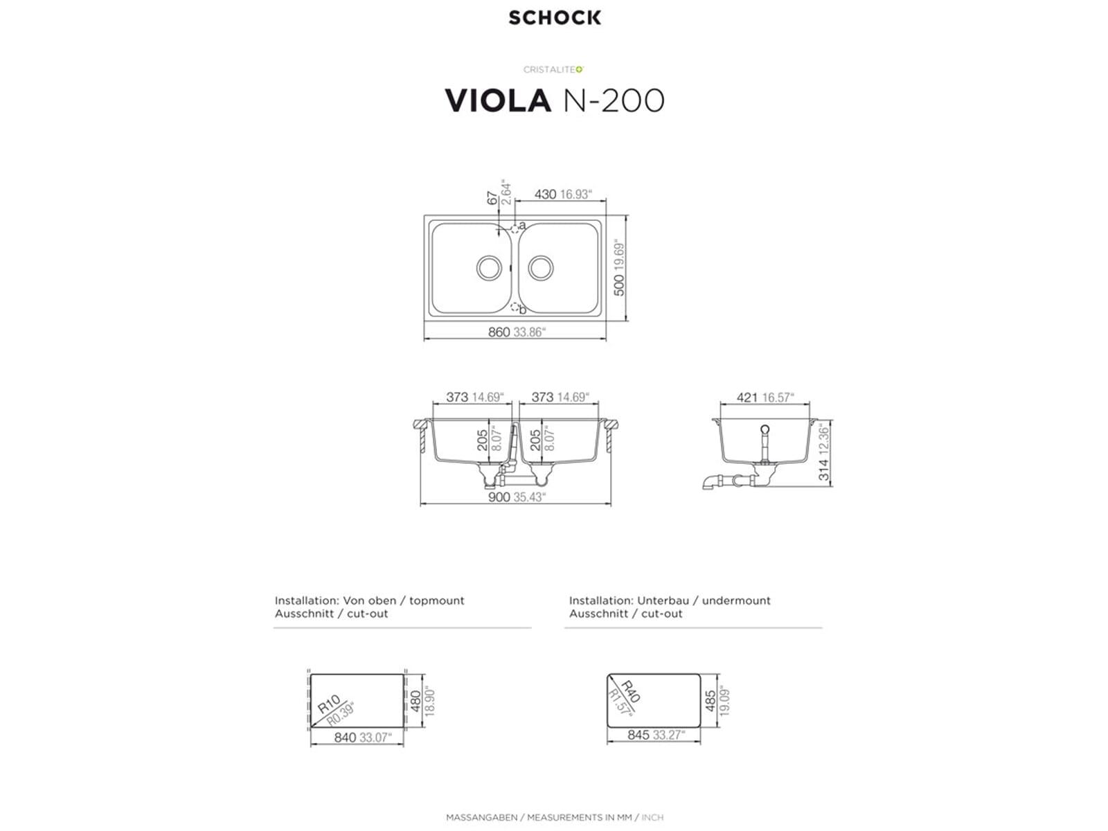 Schock Viola N-200 A Onyx Granitspüle
