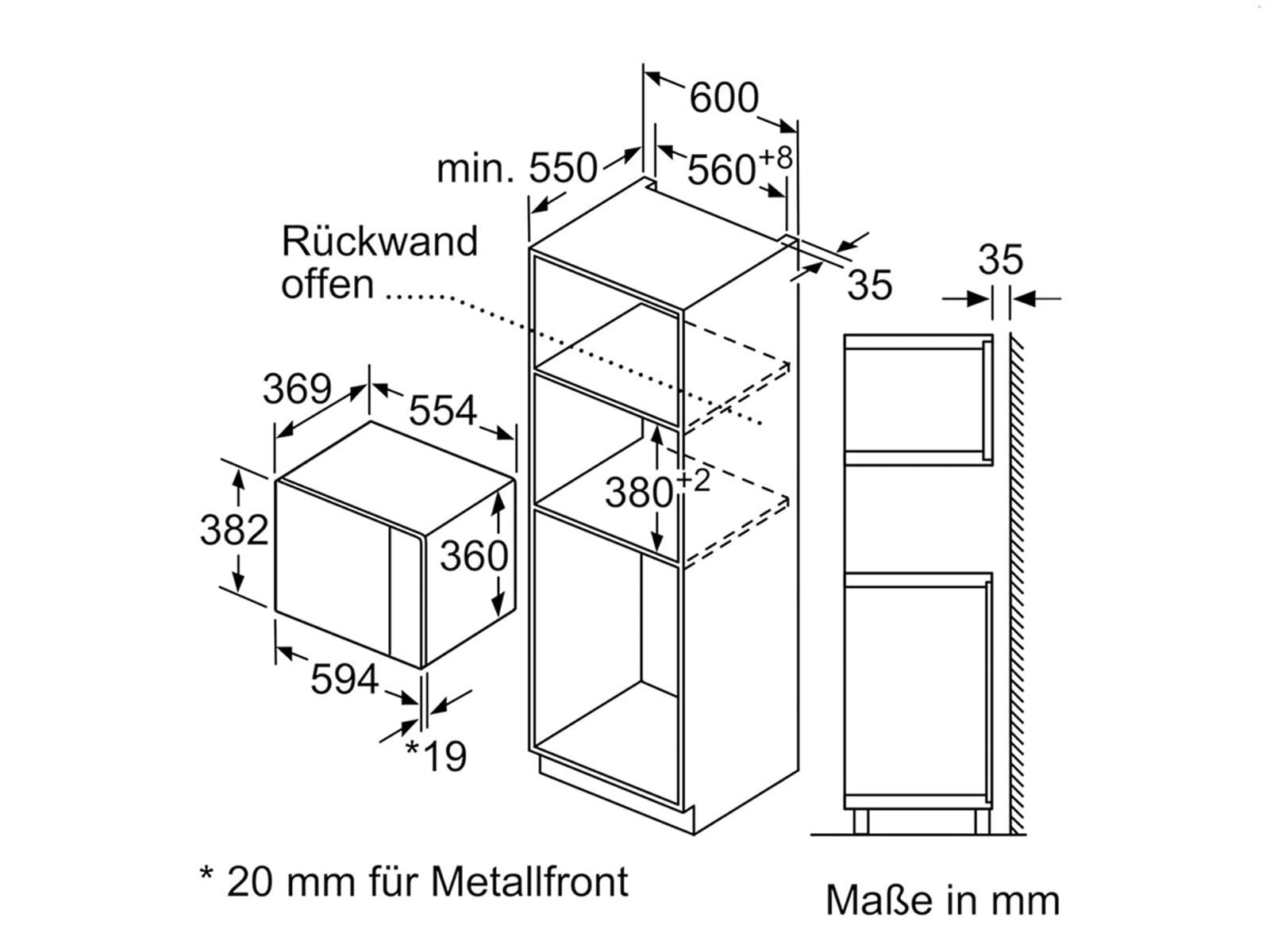 Siemens BE555LMS0 Einbau-Mikrowelle mit Grill Edelstahl