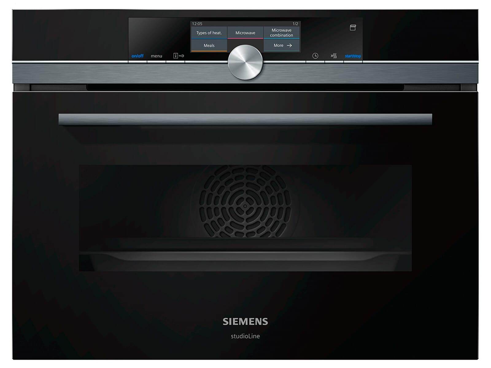 Siemens studioLine CN878G4B6 Pyrolyse Kompaktbackofen mit Mikrowelle und Dampf blackSteel