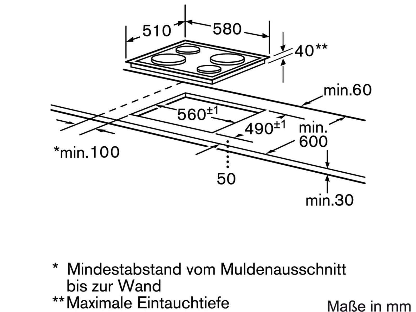 Siemens EA125501 Edelstahl Massekochfeld herdgebunden