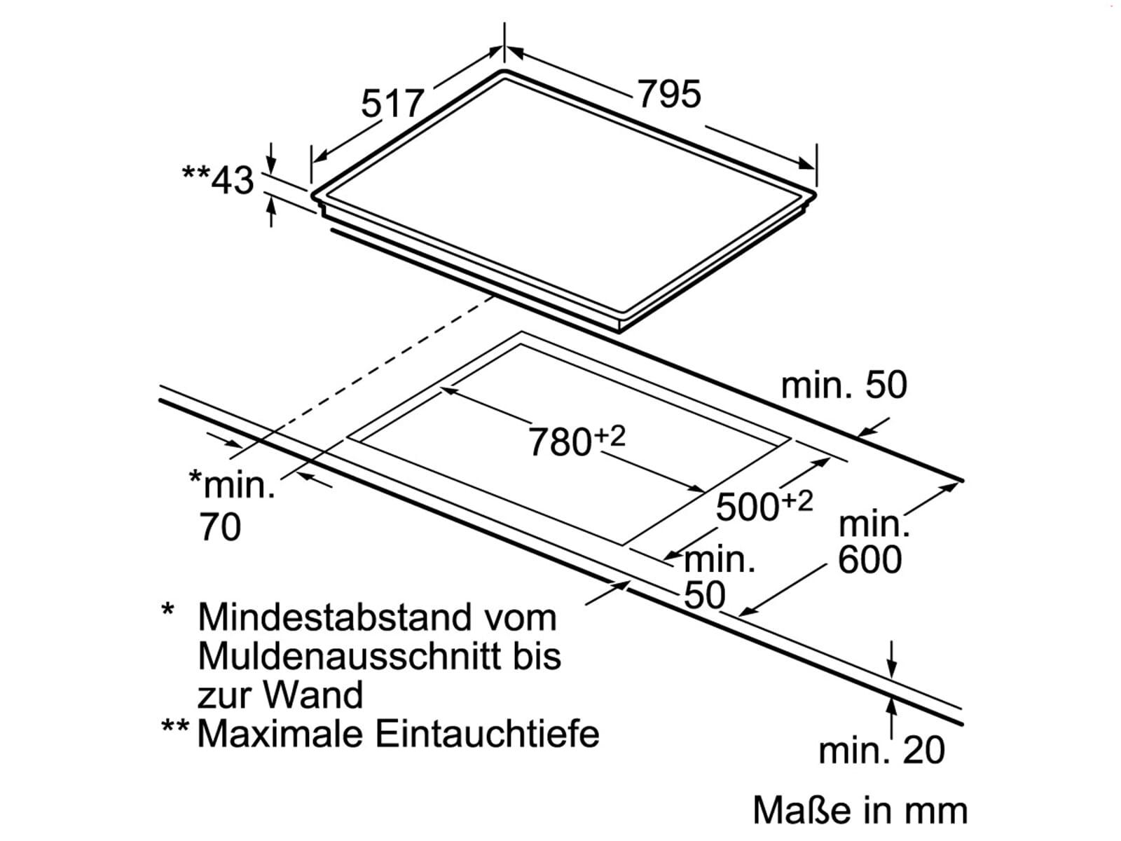 Siemens EA845GN17 Glaskeramikkochfeld herdgebunden