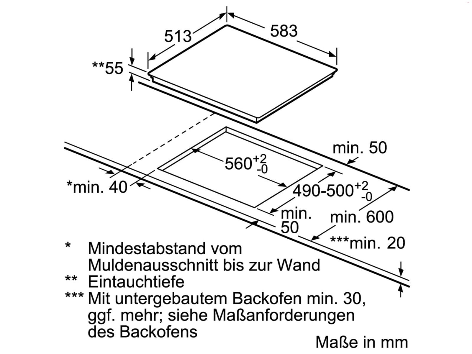 Siemens EH645BEB1E Induktionskochfeld autark