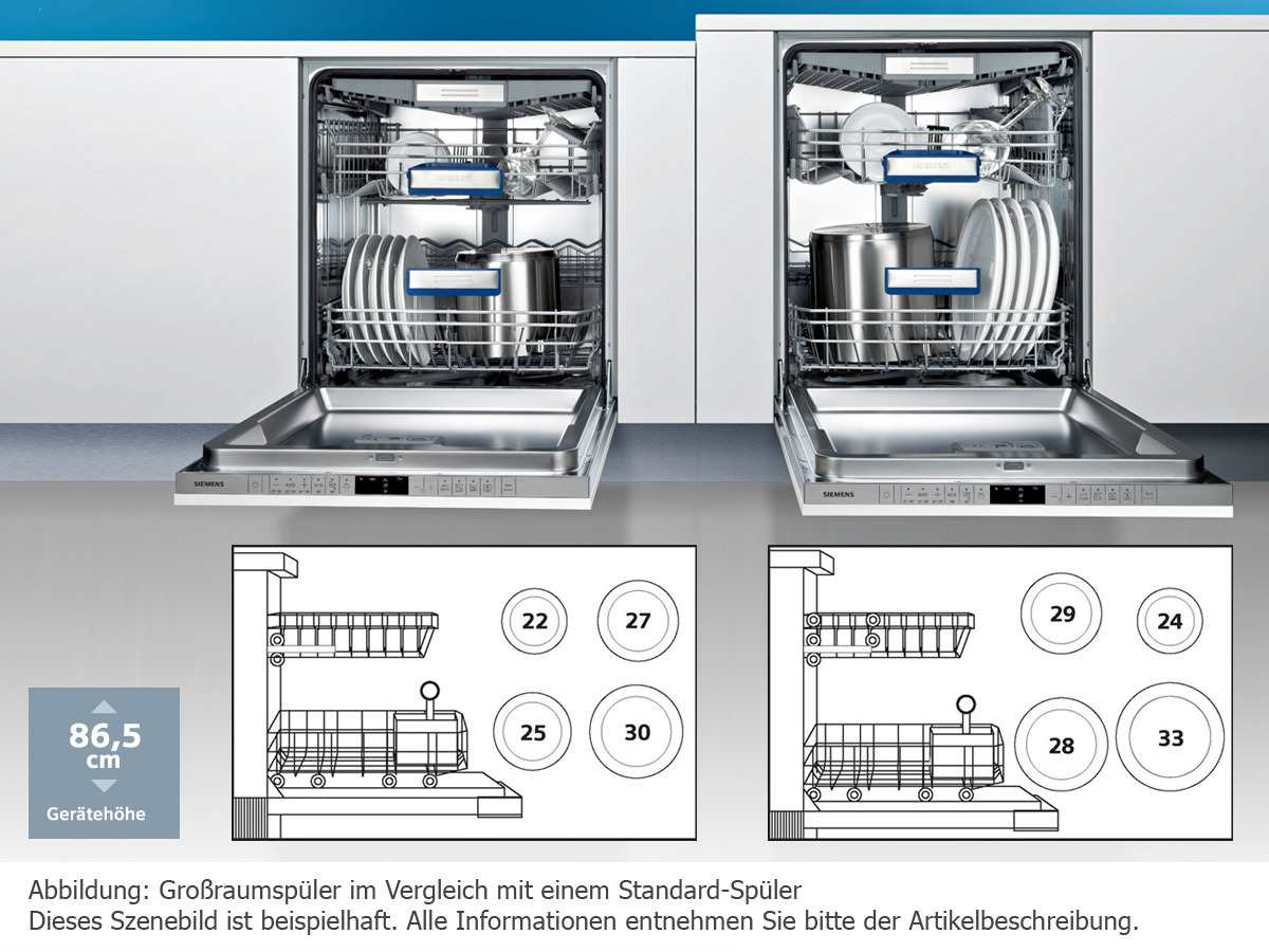Siemens SX736X03ME Vollintegrierbarer Einbaugeschirrspüler XXL | {Einbaugeschirrspüler 91}