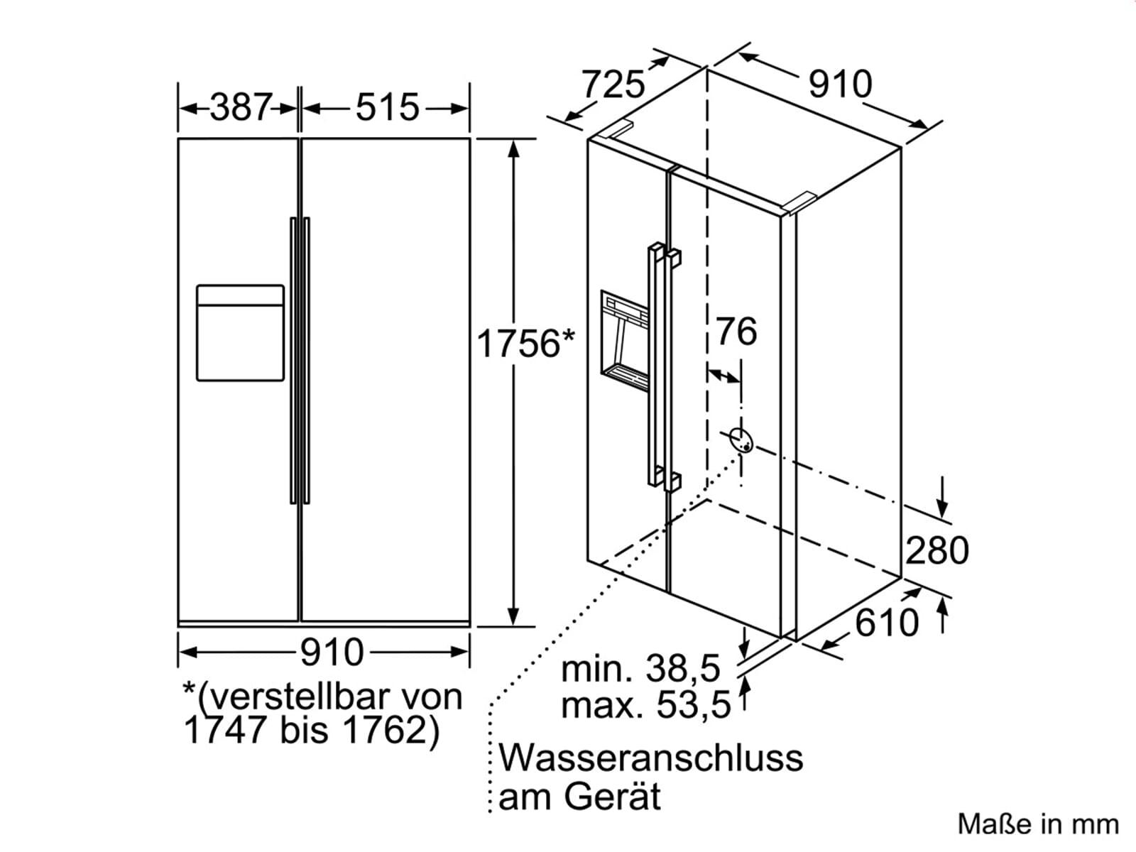 Siemens KA92DAI30 Side by Side Kühl-Gefrier-Kombination Edelstahl