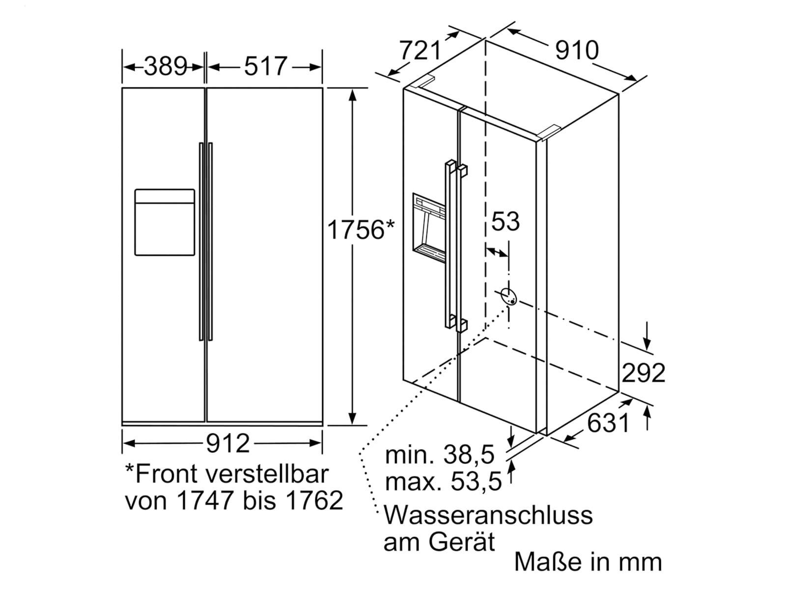 siemens ka92dhi31 side by side k hl gefrierkombination edelstahl. Black Bedroom Furniture Sets. Home Design Ideas