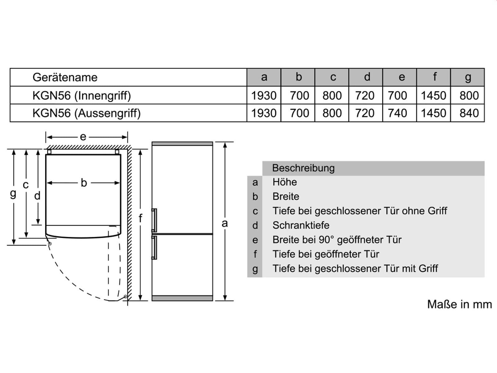 Siemens KG56FHB40 Kühl-Gefrierkombination Türen Schwarz