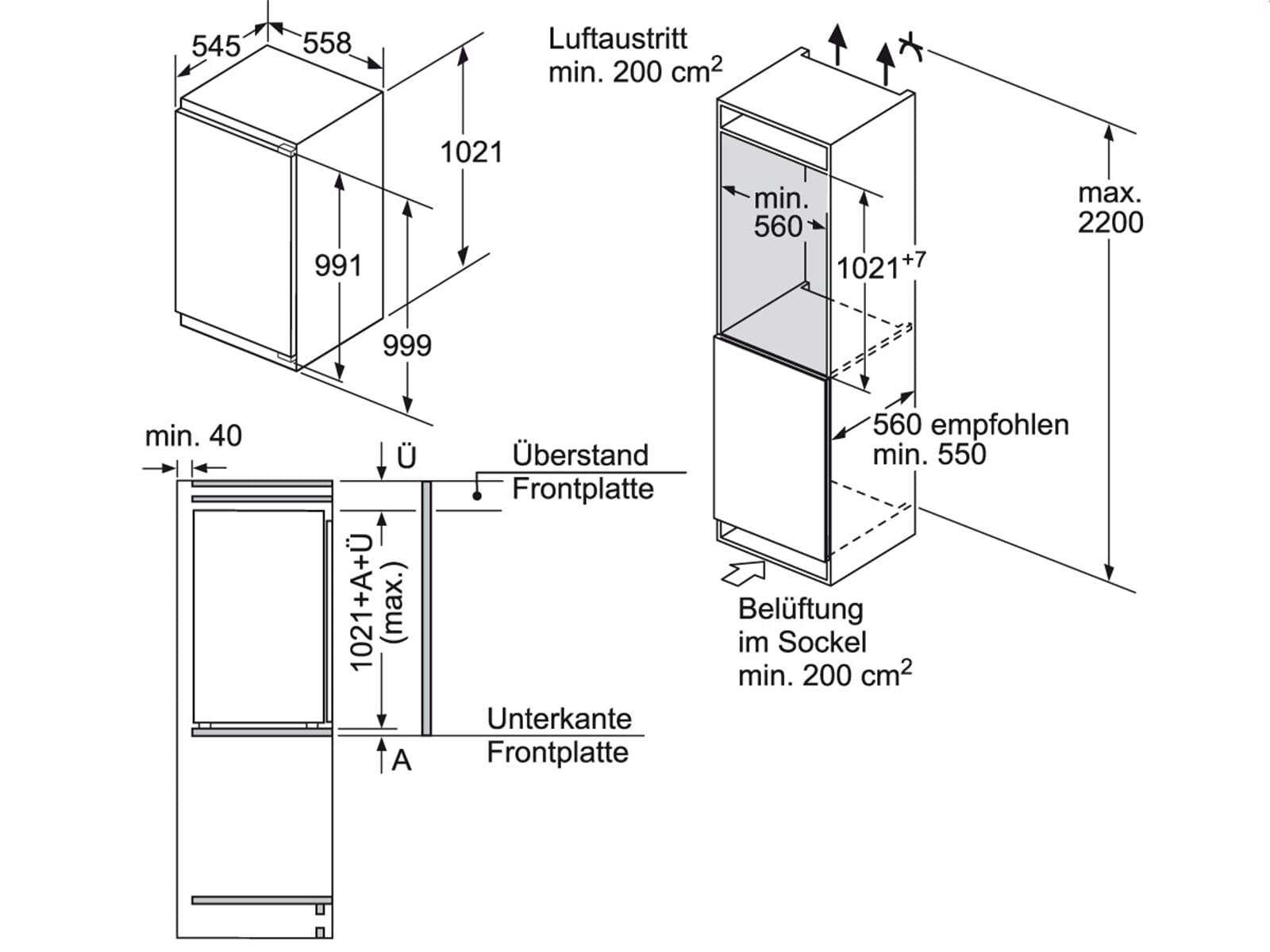 tolle einbauk hlschrank ma e zeitgen ssisch die besten wohnideen. Black Bedroom Furniture Sets. Home Design Ideas