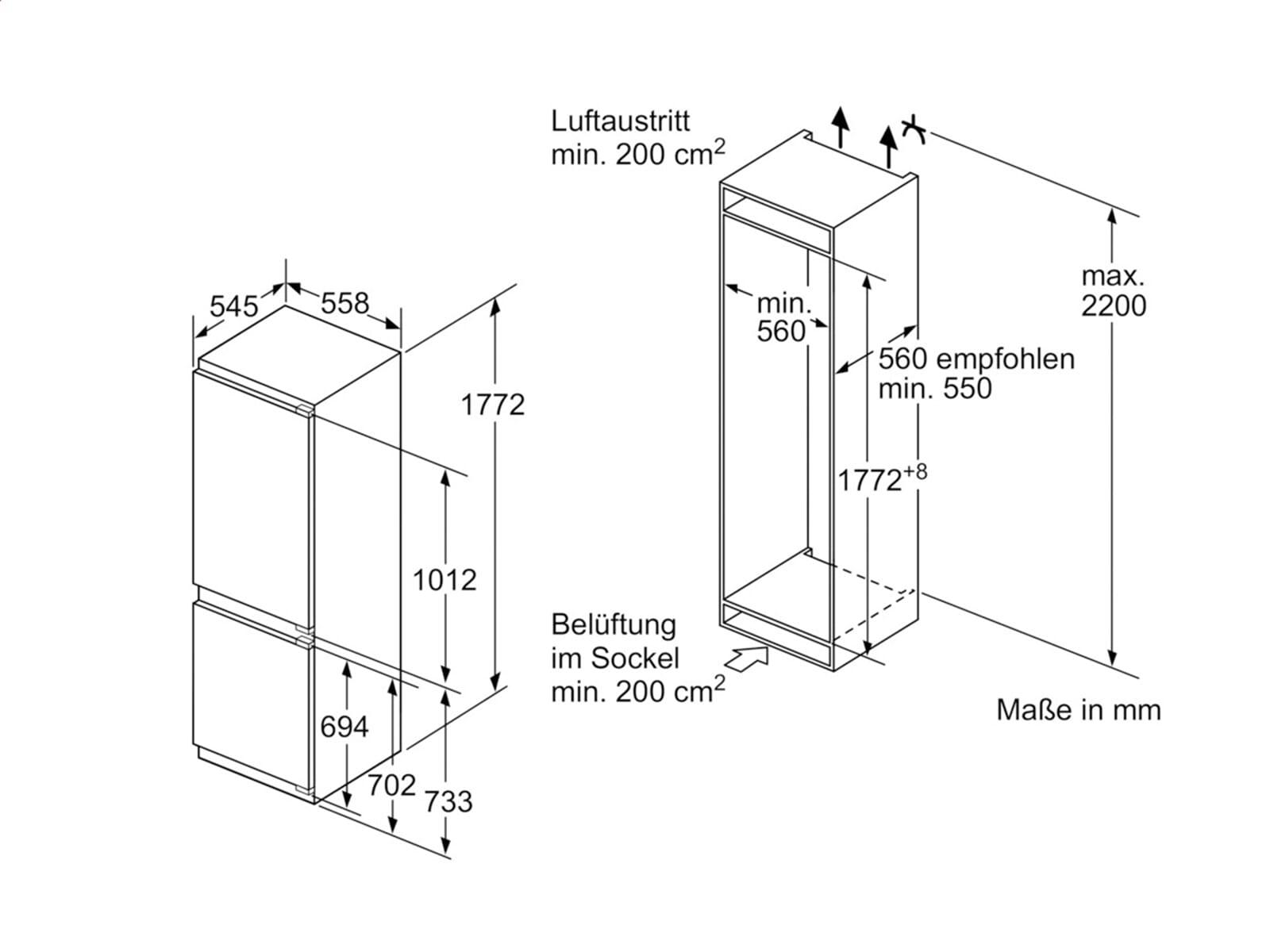 siemens ki86saf30 einbau k hl gefrierkombination a. Black Bedroom Furniture Sets. Home Design Ideas