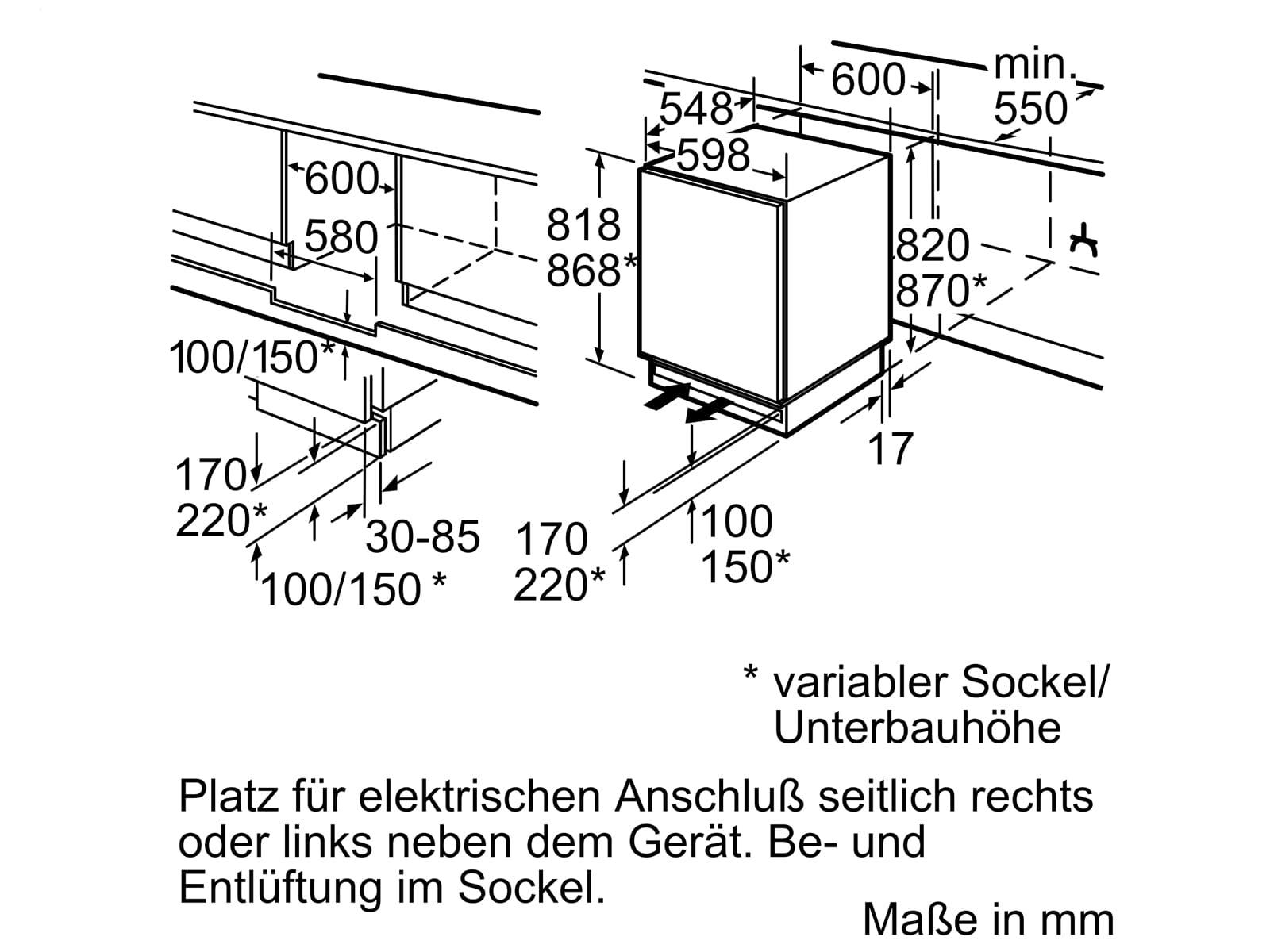 Siemens KU15LADF0 Unterbaukühlschrank mit Gefrierfach