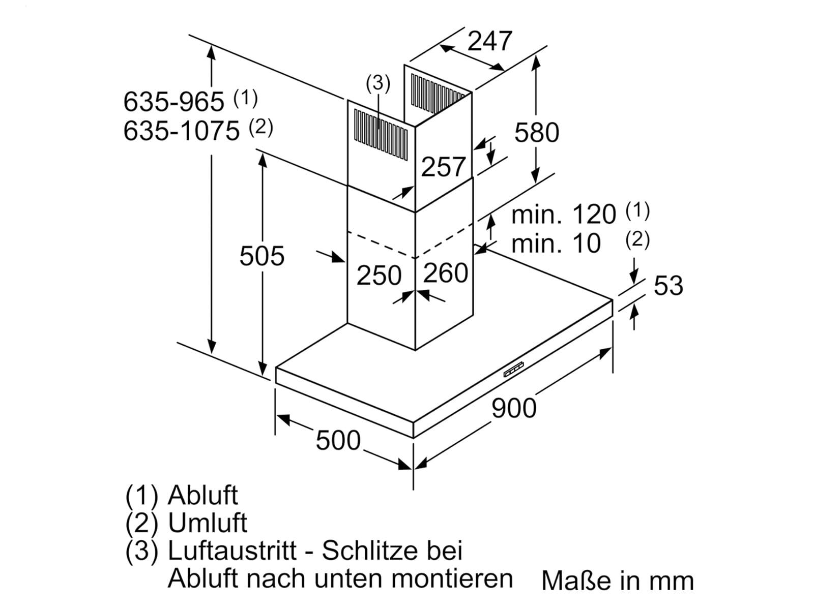 Siemens LC94BBC50 Wandhaube Edelstahl