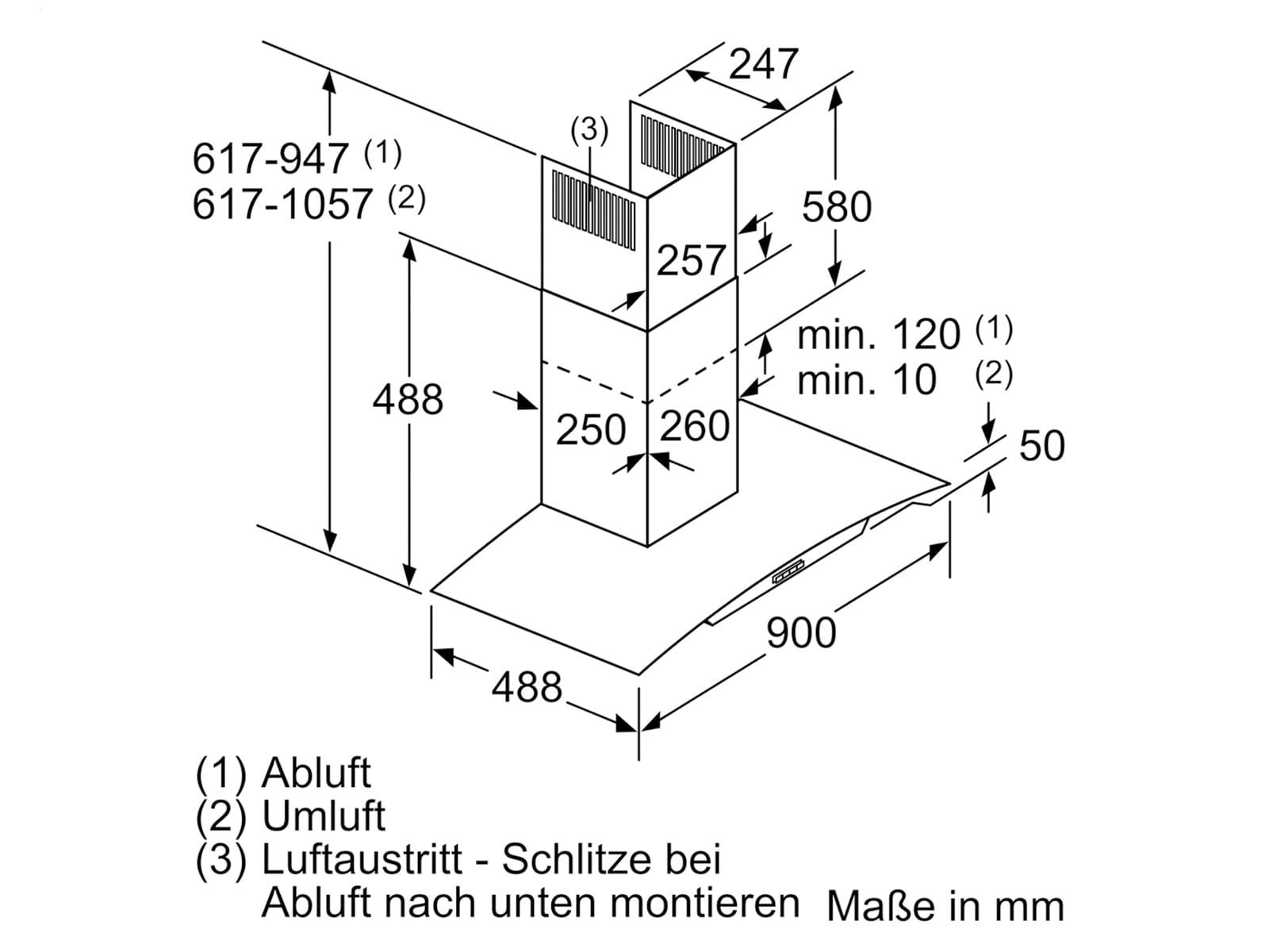 Siemens LC96ABM50 Wandhaube Edelstahl