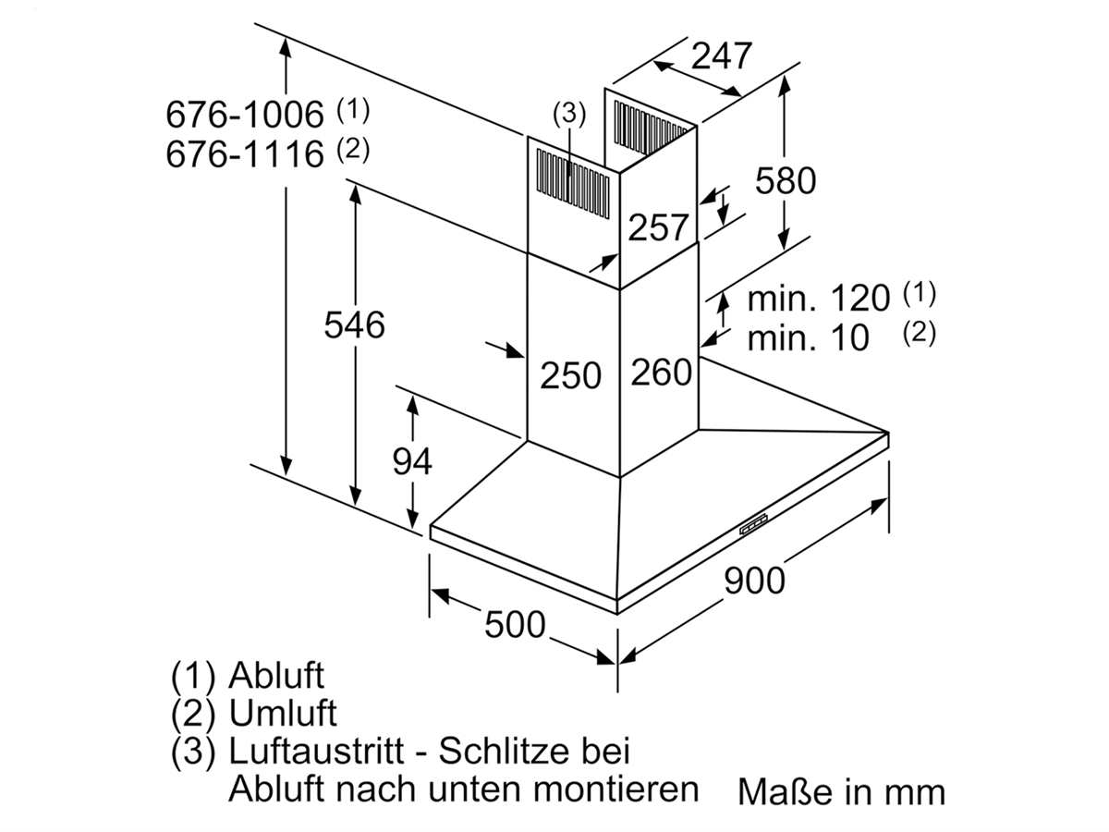 Siemens LC96QBM50 Wandhaube Edelstahl