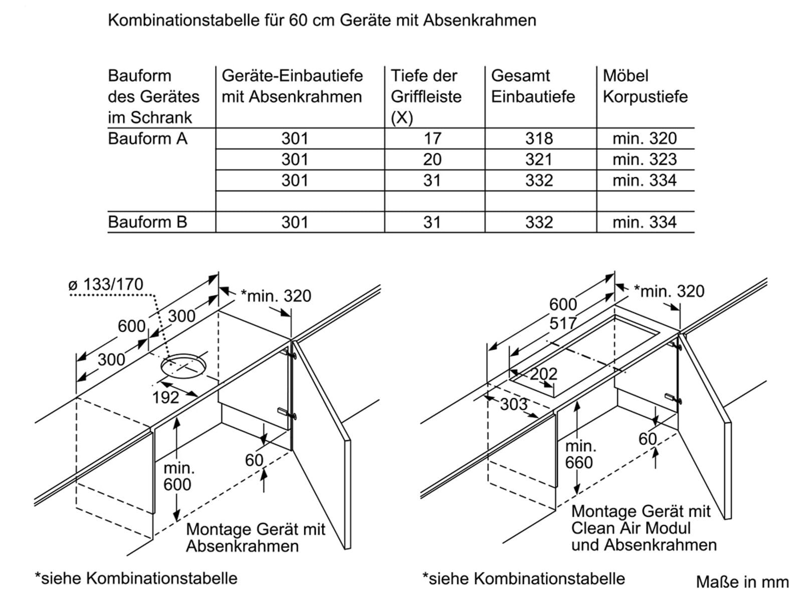 Siemens LZ46600 Absenkrahmen für Flachschirmhauben