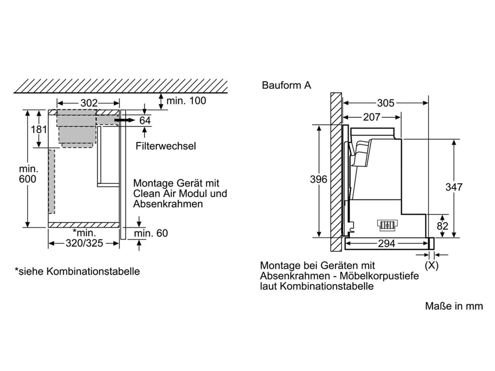 Siemens LZ49600 Absenkrahmen für Flachschirmhauben