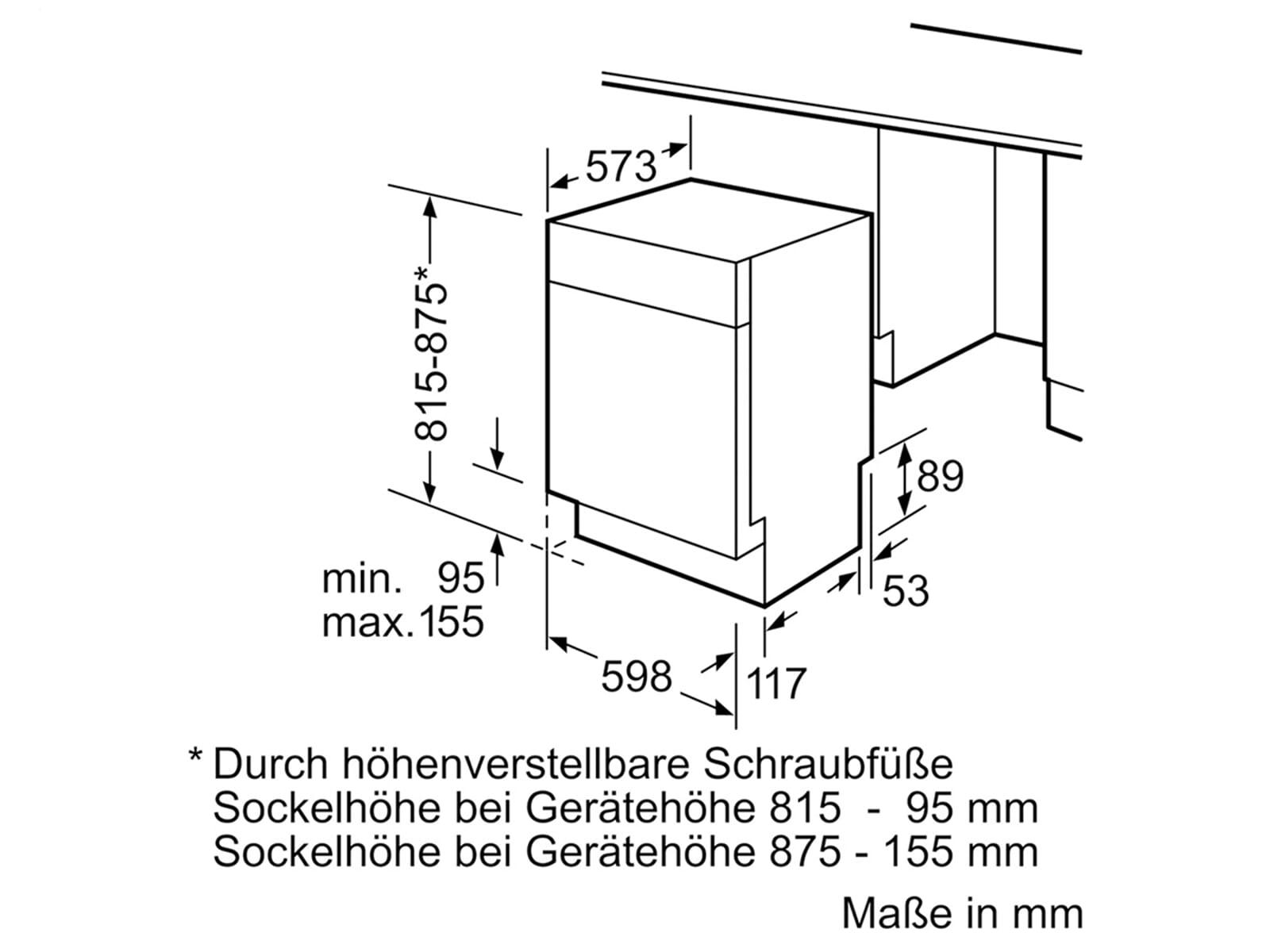 Siemens SN458S02ME Unterbaugeschirrspüler Edelstahl