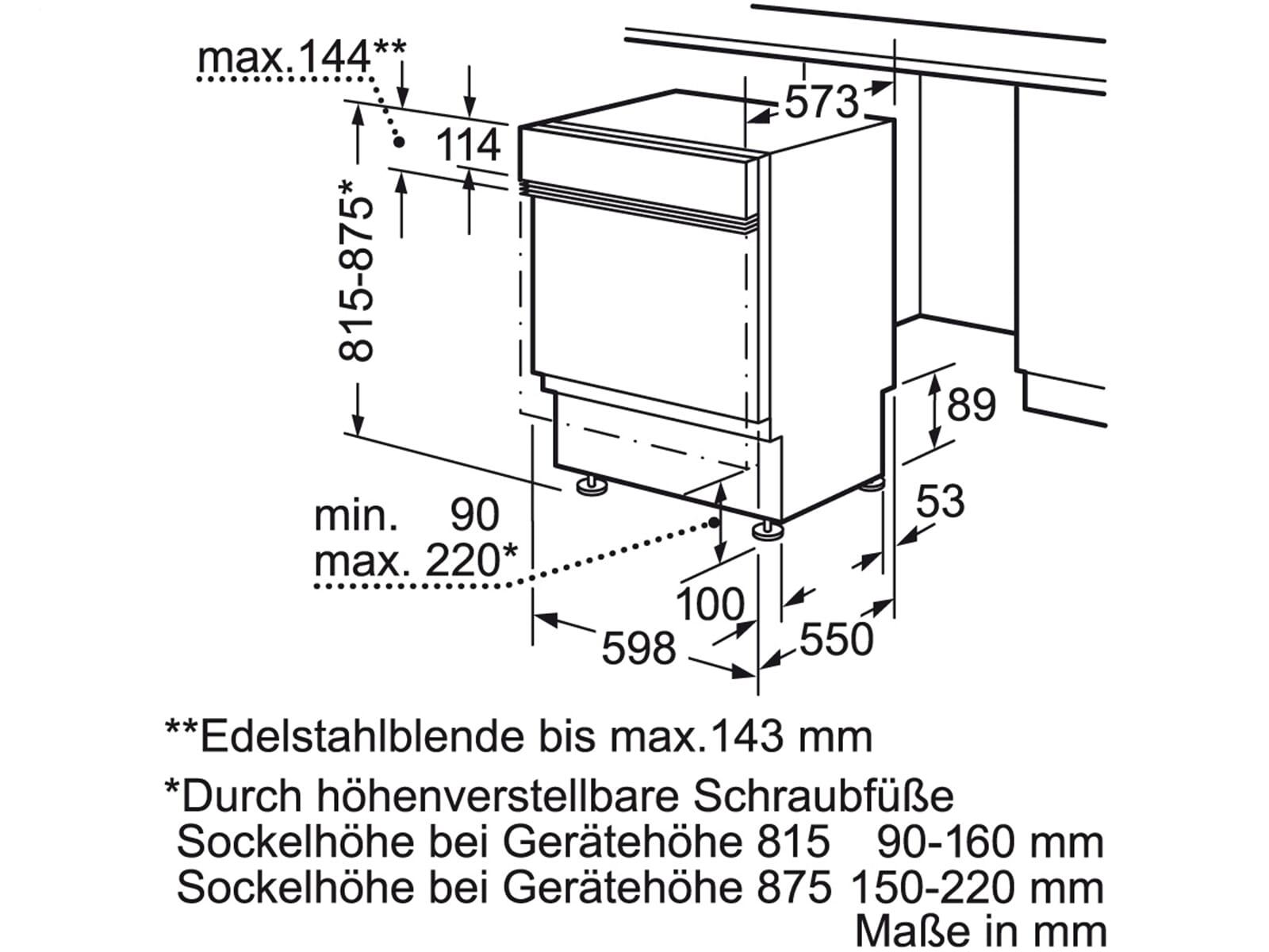Siemens SN536S01GE Teilintegrierbarer Einbaugeschirrspüler