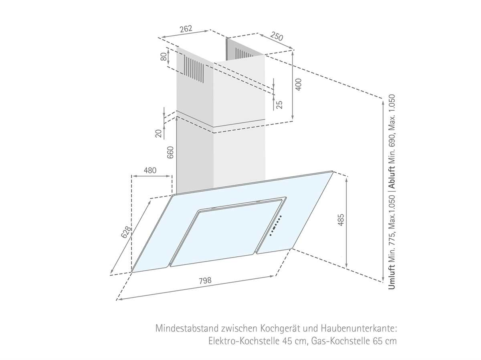 Silverline Andromeda Eco ANW 853.3 W Kopffreihaube Edelstahl/Weißglas