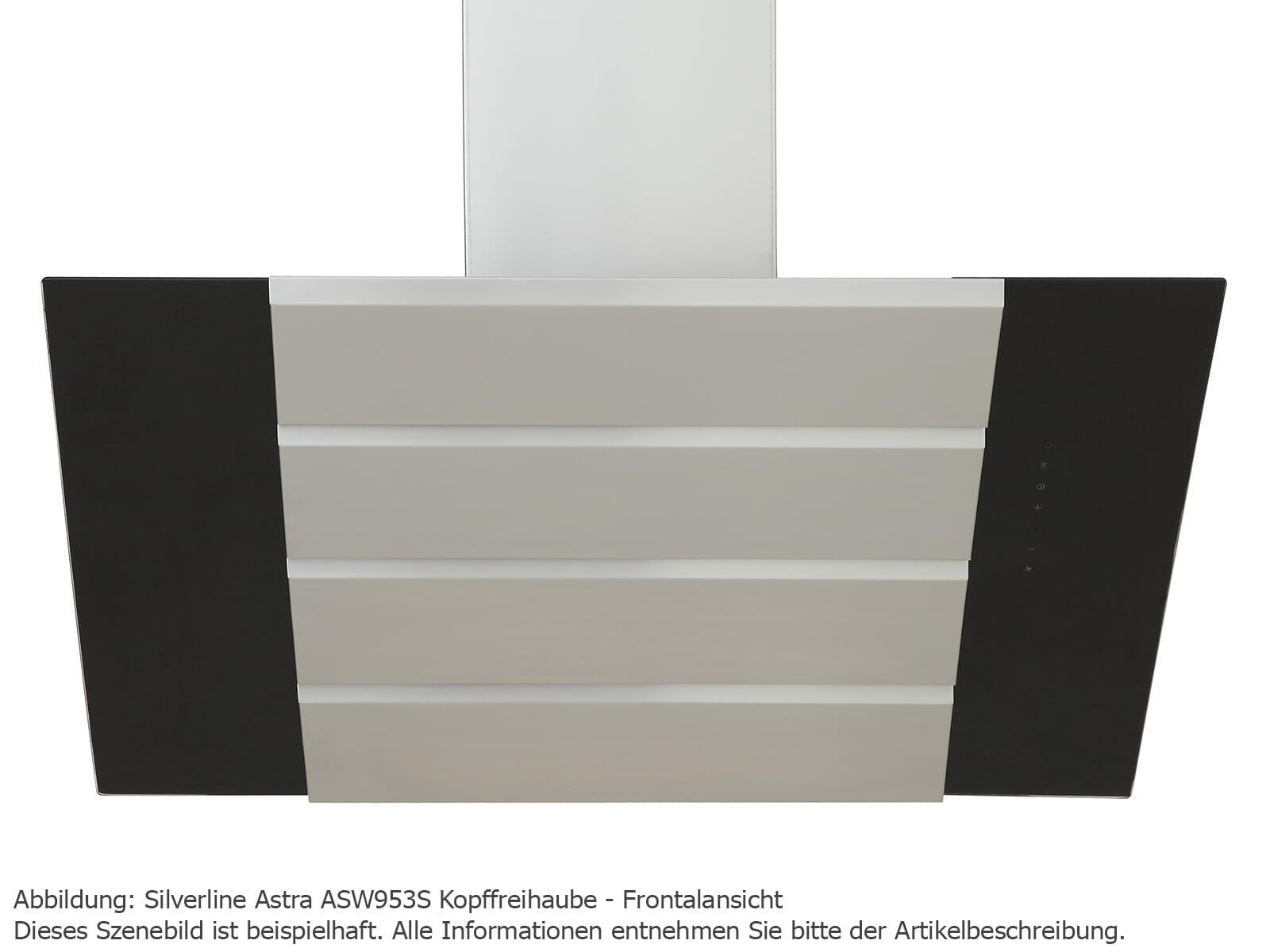 Silverline Astra ASW 853 S Kopffreihaube 80 cm Edelstahl/Schwarzglas