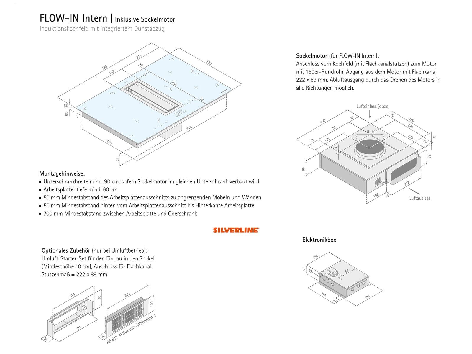 silverline flik 854 es flow in intern premium induktionskochfeld dunstabzug ebay. Black Bedroom Furniture Sets. Home Design Ideas