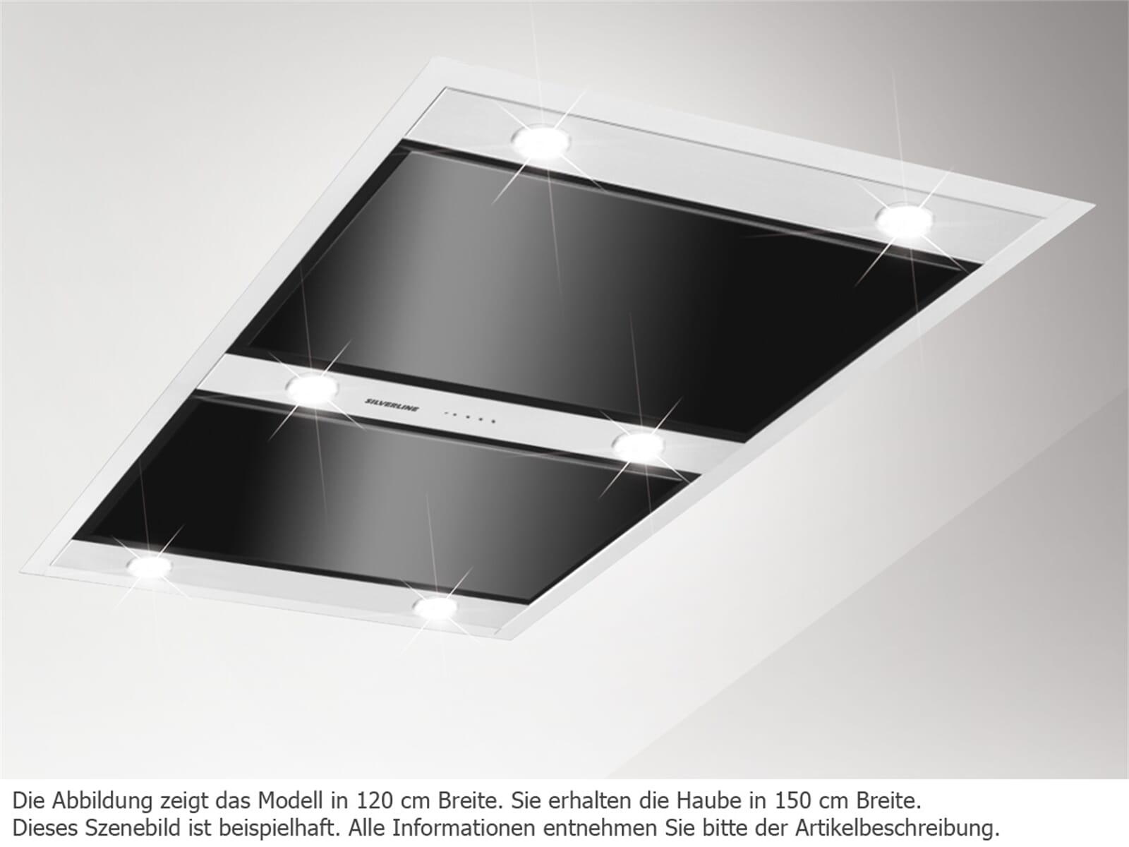 Silverline Vega VGD 154.1 S Abluft Deckenhaube mit Randabsaugung Edelstahl / Schwarzglas 150 cm