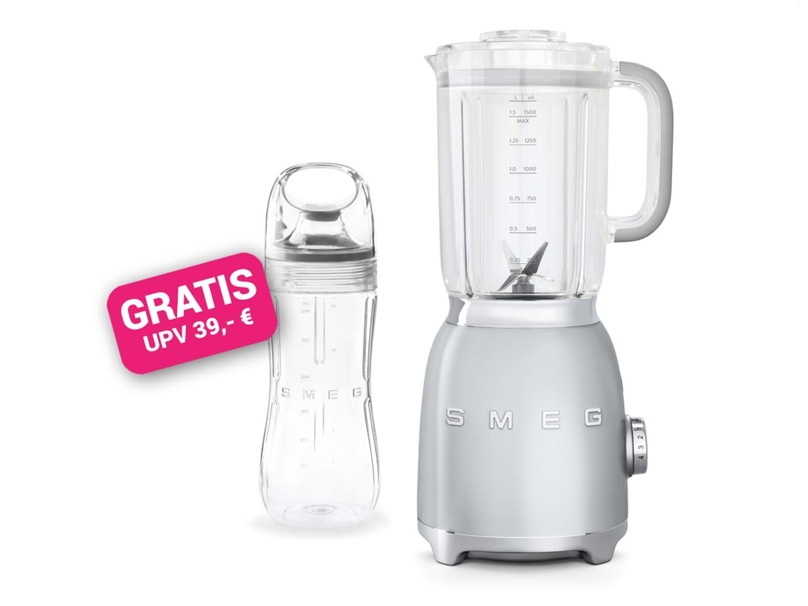 Smeg BLF01SVEU Standmixer Polarsilber Metallic inkl. GRATIS Trinkflasche BGF01