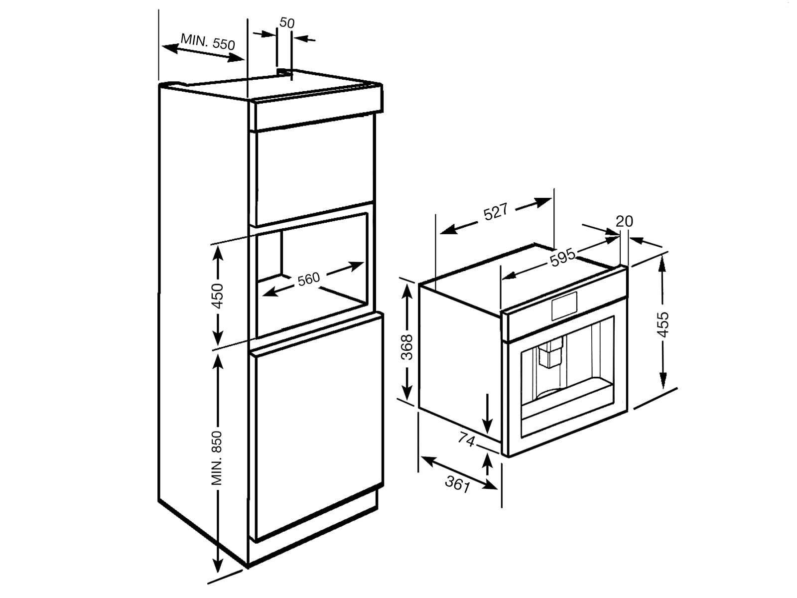 Smeg CMS4104N Einbau-Espresso-/Kaffeevollautomat Schwarzglas